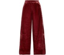 Clamirana Striped Velvet Wide-leg Pants Claret