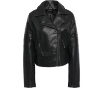 Studded Quilted Faux Leather Biker Jacket Black