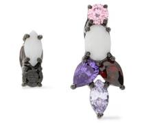 Gunmetal-tone crystal and stone earrings