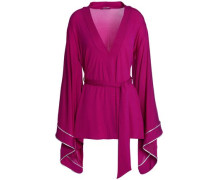 Draped Belted Jersey Top Magenta