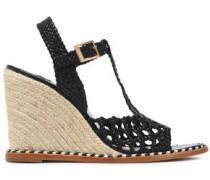Cutout braided leather wedge platform sandals