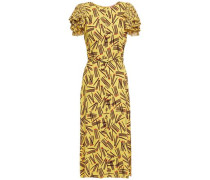 Woman Mainline Matches Ruffle-trimmed Printed Crepe Midi Dress Yellow