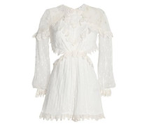 Woman Divinity Embroidered Silk-georgette Playsuit Ivory
