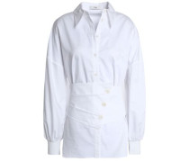 Belted cotton-poplin shirt