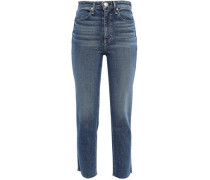 Cropped Frayed High-rise Slim-leg Jeans Mid Denim  3
