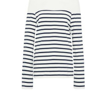 Off-the-shoulder striped cotton-jersey top