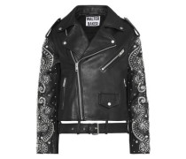 Chi Crystal-embellished Leather Biker Jacket Black
