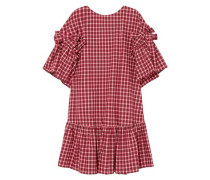Ruffled Bow-embellished Checked Cotton-poplin Mini Dress Red