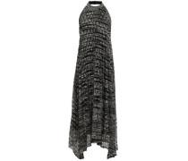 Pleated Crochet-knit Halterneck Midi Dress Gray
