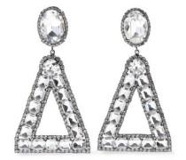 Gunmetal-tone Crystal Clip Earrings Gunmetal Size --