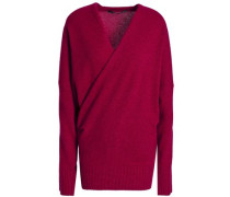 Crossover wool and cashmere-blend sweater