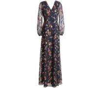 Metallic Printed Fil Coupé Silk-blend Chiffon Maxi Dress Indigo