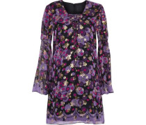 Metallic Printed Silk-blend Fil Coupé Mini Dress Purple