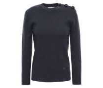 Button-detailed Wool-blend Sweater Anthracite