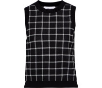 Checked Cotton-blend Jacquard Top Black