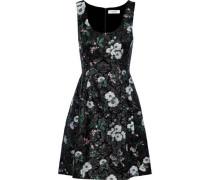 Flared Brocade Mini Dress Black