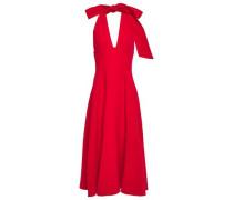 Woman Wool-blend Crepe Halterneck Midi Dress Red