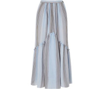 Leila Striped Cotton-gauze Midi Skirt Light Blue