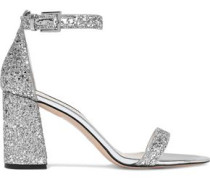 Lillian Mirrored Leather-trimmed Glittered Woven Sandals Silver