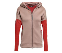 Two-tone Ribbed-knit And Scuba Hooded Jacket Antique Rose