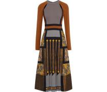 Cutout Pleated Printed Crepe And Jacquard Midi Dress Light Brown