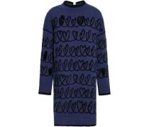 Cutout Jacquard-knit Mini Dress Navy