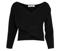 Cropped wrap-effect cashmere sweater