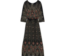 Woman Emilie Embellished Chiffon Maxi Dress Black