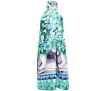 Woman Gathered Printed Silk-twill Halterneck Mini Dress White