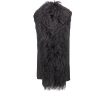 Shearling-trimmed Ribbed Merino Wool Vest Charcoal