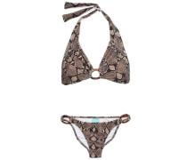 Embellished Snake-print Halterneck Bikini Animal Print
