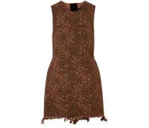 Woman Frayed Leopard-print Cotton-twill Mini Dress Animal Print