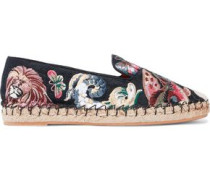 Embroidered Woven Espadrilles Black