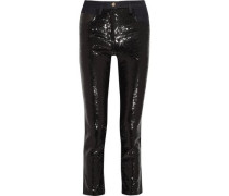 High-rise sequined skinny jeans