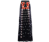 Sequin-embellished embroiderd silk-crepe maxi skirt