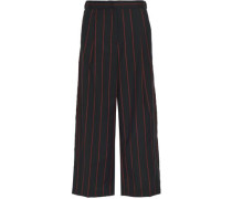 Pinstriped Wool Wide-leg Pants Black