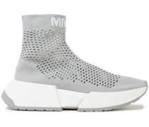 Woman Sock Runner Open-knit High-top Sneakers Stone