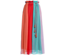 Tasseled Color-block Chiffon Maxi Skirt Multicolor