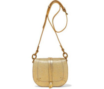 Victor metallic textured-leather shoulder bag