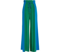 Pleated Silk Crepe De Chine Wide-leg Pants Green