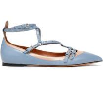 Eyelet-embellished two-tone leather point-toe flats