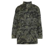 Distressed Printed Denim Jacket Army Green