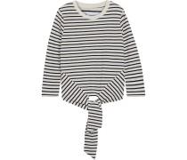 Woman The Birkin Tie-front Striped Slub Cotton-blend Jersey Top Navy