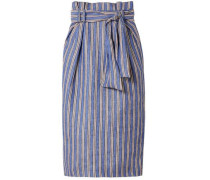 Striped Linen Midi Pencil Skirt Blue