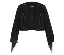 Cropped lace-up fringe-trimmed suede jacket