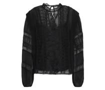 Appliquéd Silk-georgette, Lace And Point D'esprit Blouse Black