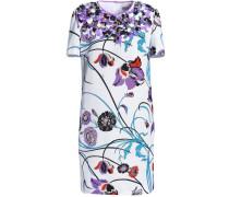 Embellished floral-print cotton-blend faille mini dress