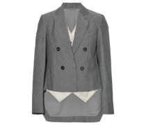 Asymmetric layered wool and linen-blend blazer