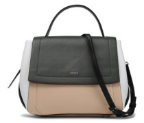 Color-block leather shoulder bag