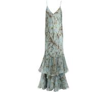 Woman Mirabella Tiered Printed Silk-satin Midi Slip Dress Sky Blue